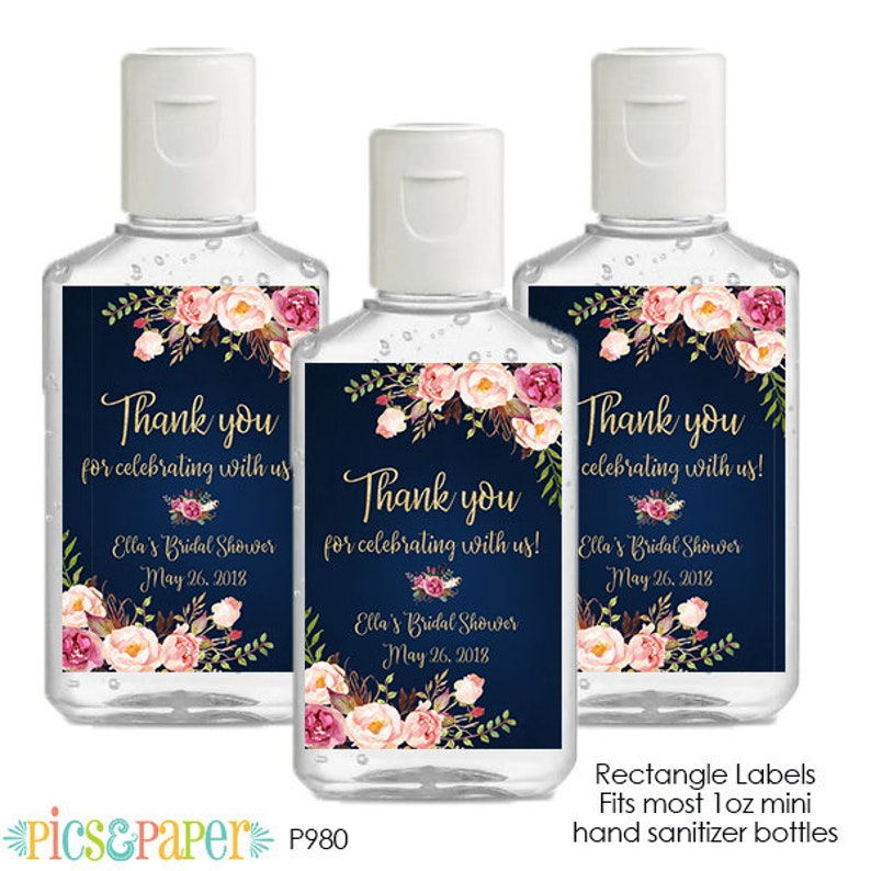 Mini Hand Sanitizer Labels Personalized for Bridal Shower, Baby Shower,  Baptism- Watercolor Flowers Boho Navy and Gold- Printable Labels