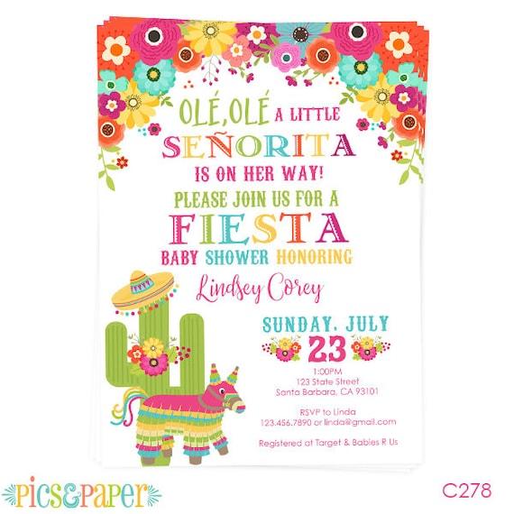 Fiesta Baby Shower Invitation Little Senorita Pinata