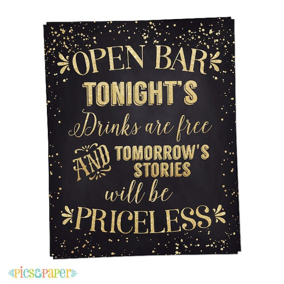 Open Bar Wedding Poster In Black And Gold Diy Wedding Signs Party Sign 50th Birthday Bachelorette Printable File Instant Download