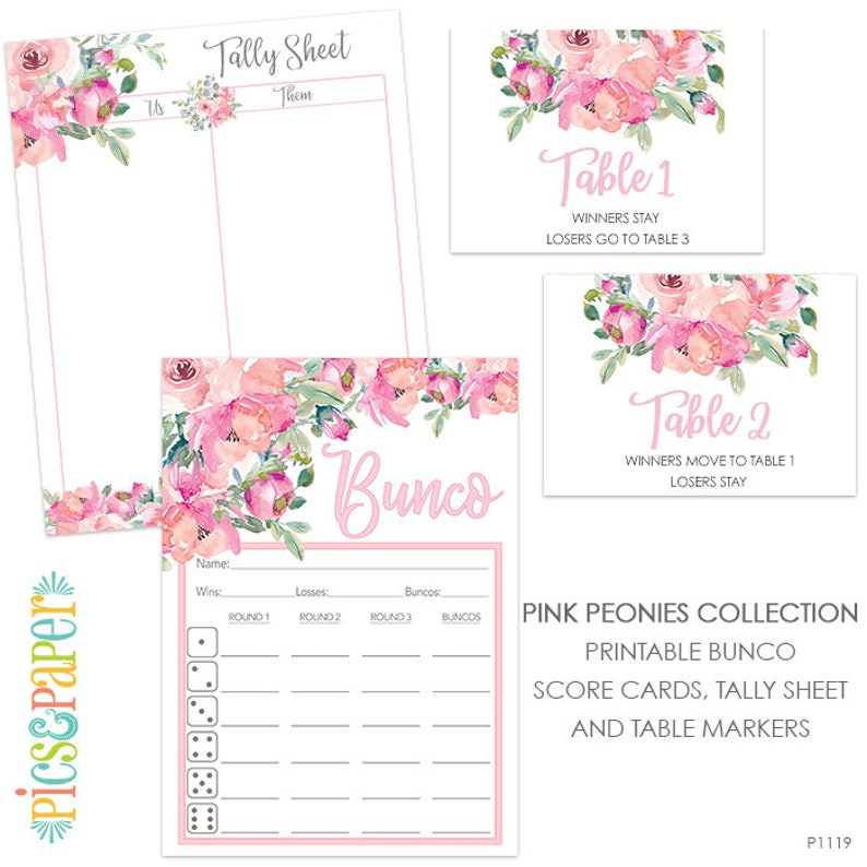 picture relating to Printable Bunco Score Cards identified as Bunco Ranking Card with Crimson Peony Watercolor Bouquets, Tally Sheet, Desk Markers, Bunco Night time Activity Fixed Electronic Obtain-Purple Peonies