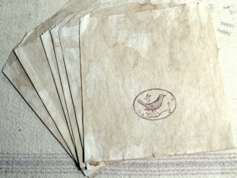Birds Stamped Primitive Rustic Cloth Bags and Sandwich Bags Antiqued Tags
