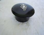 Vintage Black Bakelite Jar with Sterling Silver Art Nouveau lady Arlington Snuff Box Free Shipping