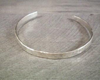 e73e0e7a82b Hammered Silver Bracelet, Sterling Silver Cuff Bracelet, Hammered Silver  Cuff Bracelet