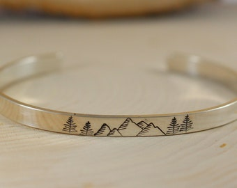 34958b9647e Mountain Cuff Bracelet,Sterling Silver Bracelet,Sterling Silver Cuff  Bracelet