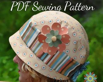 Vintage Cloche HAT SEWING PATTERN, Digital Hat Pattern, Retro Flapper Hat Pattern, Baby Girl Teen Womens Hat Sewing Pattern, Digital Pdf