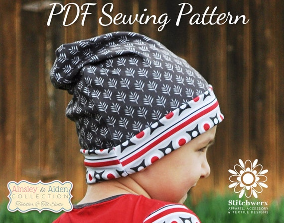Beanie Hat Pattern Sew Slouchy Beanie PDF Sewing Pattern | Etsy
