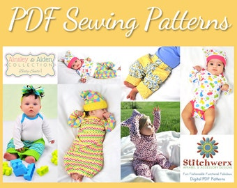 BABY SEWING PATTERNS, Set of 4 Baby Pattern Bundle, Baby Knit Sewing, Digital Baby Sewing Patterns, Preemie Sewing Patterns, Digital Pdf