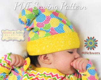 Baby Hat Pattern, Sew Slouchy Beanie, Baby Sewing Patterns, Infant Hat Pattern, Square Baby Hat, Slouchy Hat Pattern, Baby Clothes Pattern