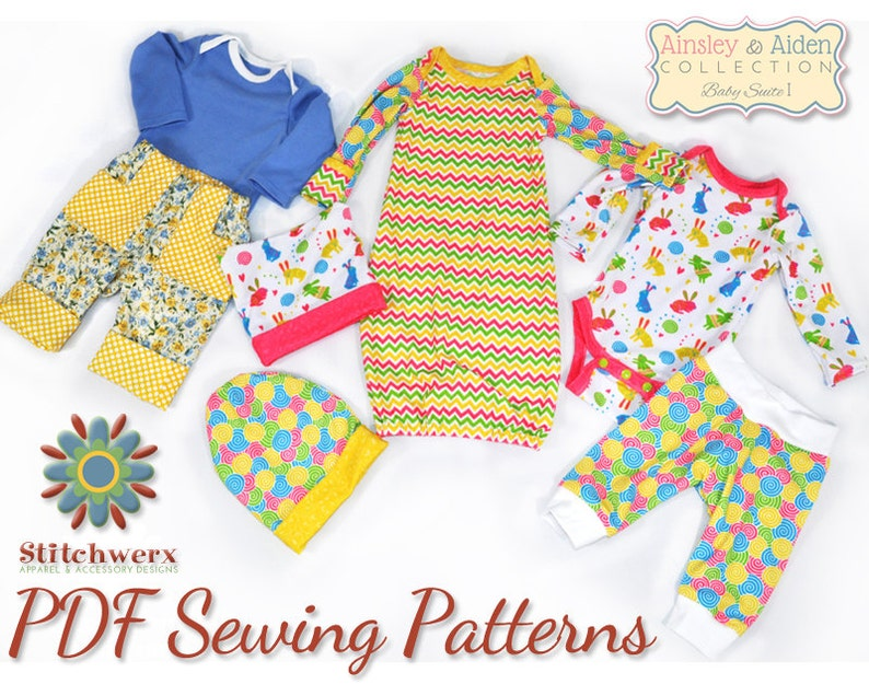 Pattern Bundle Baby Suite I Set of 4 Baby Clothes Sewing image 0