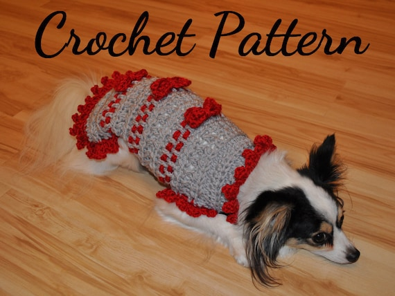 CROCHET PATTERN Small Dog Sweater Ribbons and Bows Sweater