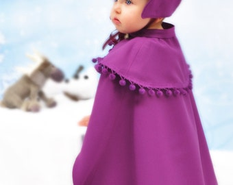 Hat + Cape Sewing Pattern Bundle, Child's Hat, Cape Sewing Patterns, Sew Anna Inspired, Snow Princess Winter Hat + Cape