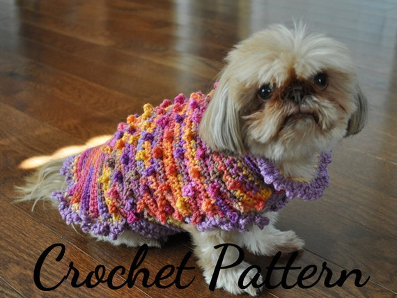 Crochet Pattern Dog Sweater Small Dog Patterns Crochet Etsy