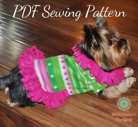 Small Dog FLEECE SWEATER PATTERN, Dog Clothes Pdf Sewing Pattern ...