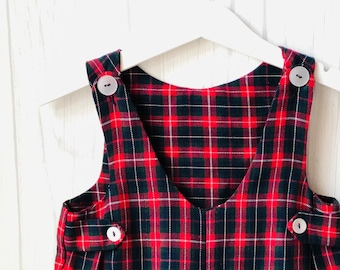 fc83057ea 1950's Vintage Imp Originals ~ Plaid Jon Jon Romper ~ Brushed Cotton ~ Baby  Boy ~ 24 Months