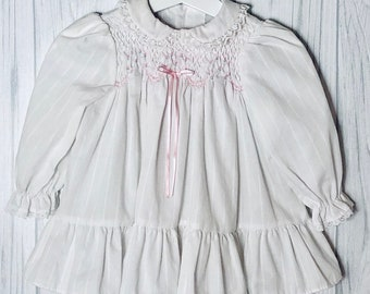 7d335535fb97 1980's Vintage Polly Flinders Smocked Dress~ White on White Stripes ~ Baby  Girl ~ 12 Months