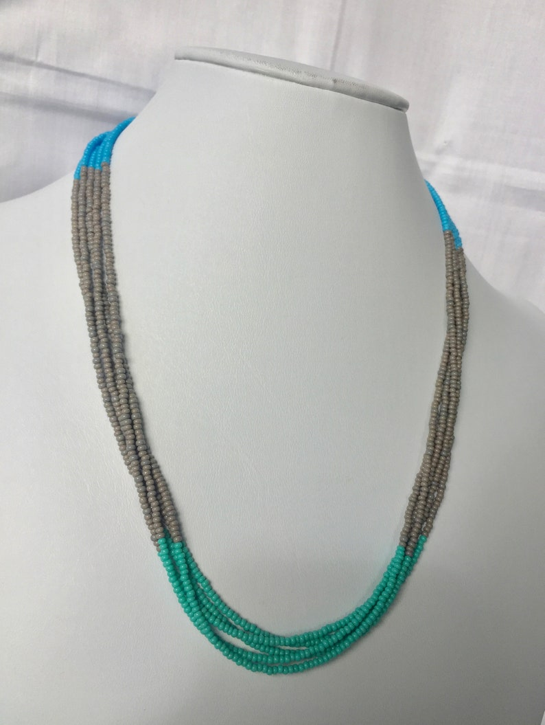 Turquoise Necklace Turquoise Gray /& Blue Necklace Turquoise Gray and Blue Beaded Necklace Beaded Necklace Blue Necklace Gray Necklace