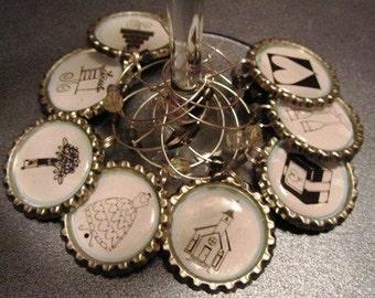 Wedding Wine Charms.  Collection of Wedding Charms - Set of 8 Wine Charms
