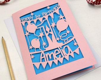 Personalised Papercut First Birthday Card Laser Cut With Name Babys Keepsake Sku 1