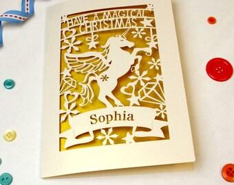 Personalised Papercut Unicorn Christmas Card, Cream and Super Gold, SKU_magical