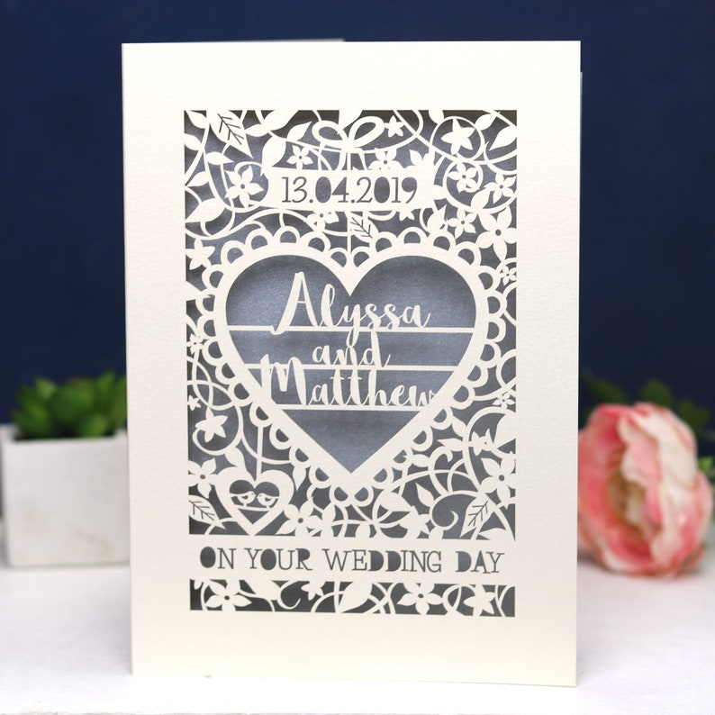 Personalised Papercut On Your Wedding Day Card Laser Cut Cream/Silver