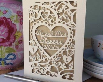 Personalised Papercut Heart Wedding Card, Wedding Cards, Mr and Mrs Papercut Wedding Card Anniversary Card, sku_heart_wedding