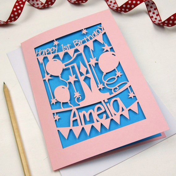 Personalised Papercut First Birthday Card Laser Cut