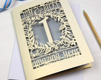 Floral Anniversary Papercut Card, Personalised Laser Cut Card, Paper Golden Silver Ruby Diamond Anniversary, sku_flower_anniversary_years