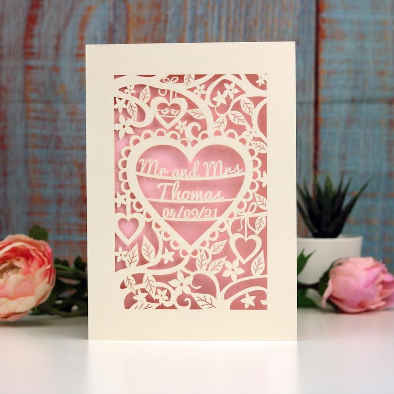 Personalised Papercut Heart Wedding Card Wedding Cards Mr image 0