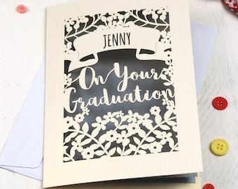 Personalised Papercut Graduation Card, On Your Graduation Congratulations Laser Cut Card, sku_graduation