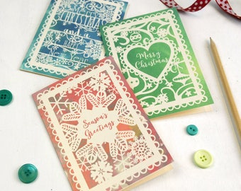 Set of 6 Metallic Watercolour Christmas Cards, Papercut-Style Printed Cards, Christmas Card Pack, Seasons Greetings, Merry Christmas Cards