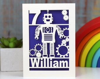 Personalised Papercut Robot Children's Birthday Laser Cut Age Card, Pogofandango Paper Cut Kids Birthday Cards, sku_robot
