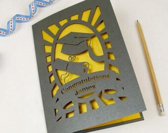 Personalised Papercut Graduation Card, Grey and Super Gold Laser Cut Congratulations Card, sku_new_graduation