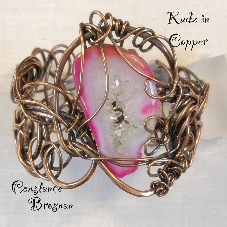 Pink Druzy Quartz/Copper Kudzu Bracelet Design/Kudzu in Copper image 0