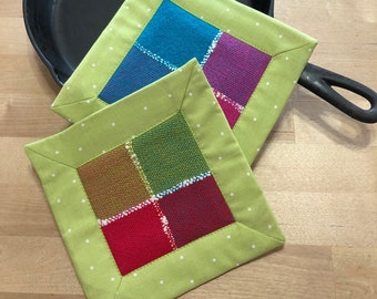 Handwoven Pot Holders Set Of Two, Hot Pads, Trivets