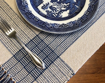 Placemats Set of 4, Handwoven Beige and Blue Cotton