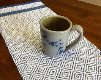 Handwoven Dresser Scarf, White And Blue, Table Runner