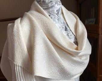 Handwoven Ivory Mulberry Silk & Tencel Shawl, Wedding Shawl, Evening Wrap, Handwoven Dress Shawl, Luxury Shawl, Shoulder Wrap