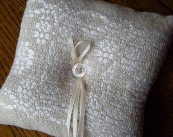 Wedding Ring Bearer Pillow, Handwoven Wedding Ring Pillow