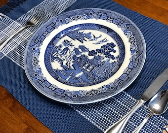 Blue and White Cotton Placemats Set of 4, Handwoven Placemats, Kitchen Decor