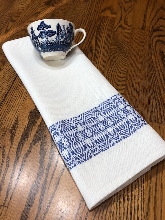 Handwoven Blue And White Kitchen Towel Chef Towel Hostess | Etsy