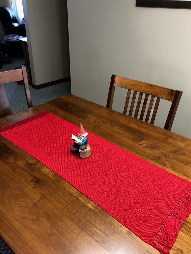 Handwoven Red Huck Lace Table Runner image 0