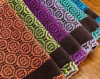 Handwoven Kitchen Dish Towels, Fall Color Tea Towels, Thanksgiving Towel, Halloween Kitchen Towel