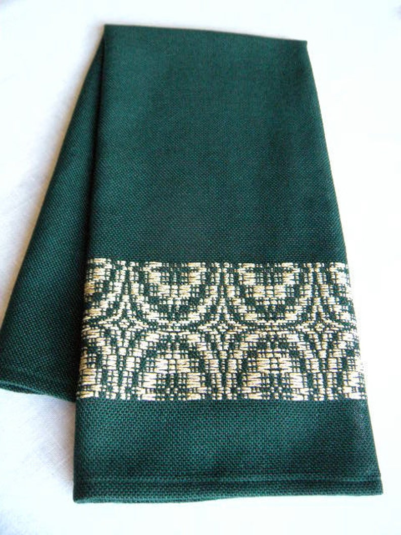 Guest Bath Hand Towel Handwoven In Green and Gold image 0