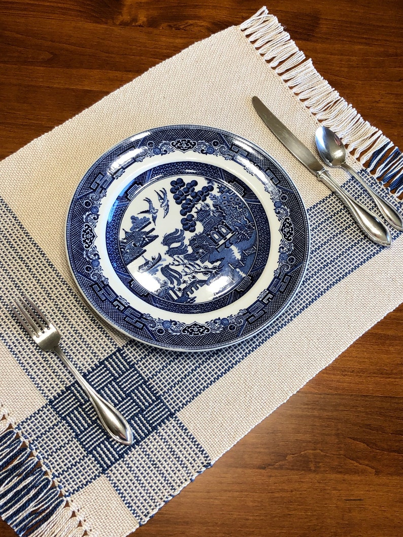 Handwoven Placemats Set of 4 Beige and Blue Mercerized Cotton image 0