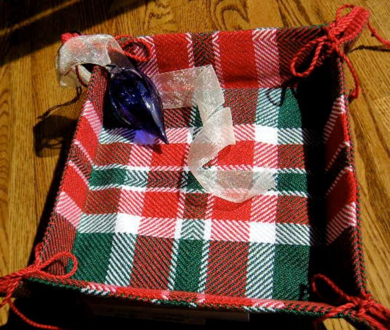 Handwoven Fabric Christmas Basket image 0