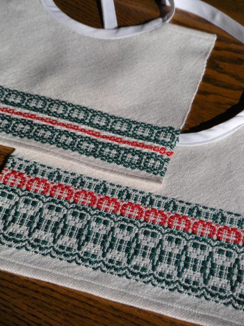 Christmas Holiday Handwoven Baby Bib Set image 0