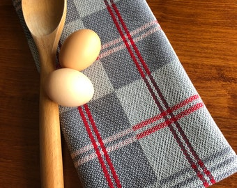 Handwoven Gray and Silver Kitchen Dish Towels
