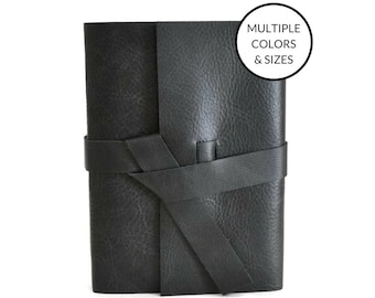 Large Leather Sketchbook Personalized Unlined Journal for Artists, Customized Travel Gifts for Men, Monogram Black Sketchbook A5 A6 96 pages