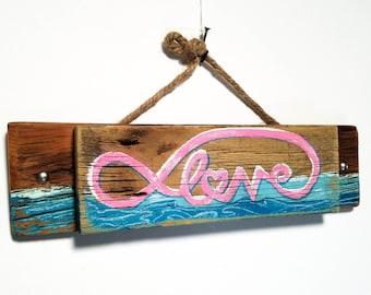 Personalize This Original Art Item-Love Sign Handmade on Reclaimed Wood Beach Decor Ocean Waves Beach Wedding Beach House Mangoseed