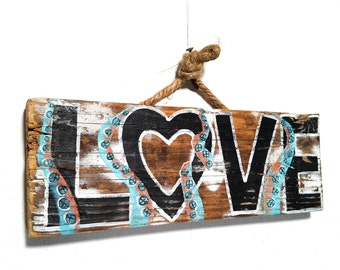 Personalize This Original Art Item-Octopus Love Sign Handmade on Reclaimed Wood Rustic Tentacle Beach Wedding Kids Room Beach Art Mangoseed
